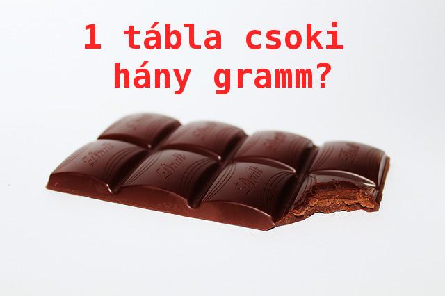 1 tábla csoki hány gramm